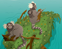 Monkey Ocean Crossing Illustration