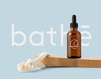 Bathē - bathing cosmetics logo, name and branding