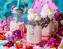 Unicorn ice cream coctail