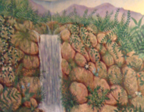 Waterfall Mural ~ A Basement Transformation