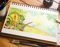 Ilustraciones digitales y acuarela