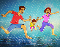 Family Time - Running in the Rain