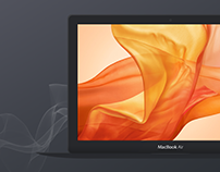 Free Dark Apple MacBook Air Vector Mockup PSD