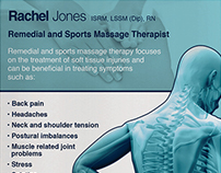 Rachel Jones Massage literature design.