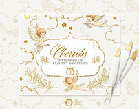 Cherubs Watercolor Illustrations Collection