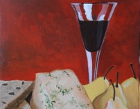 Red Wine, Yellow Pears and Blue Cheese--SOLD
