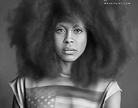 Erykah Badu Digital Art by Wayne Flint