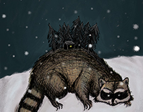 Raccoon-home Winter