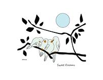 Pajaritos durmiendo. Ilustración infantil