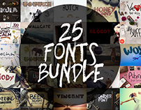 25 Fonts Bundle + Extras