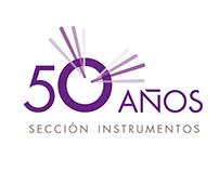 """Marca conmemorativa """"50 Años Sección de Instrumentos"""""""