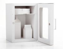 Cardboard Fridge - Cheese Wheel, Milk & Cream