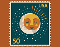 Sun & Moon Postage Stamps