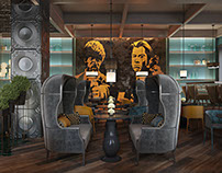 Restaurant Design, Tarantino style.3D Rendering. 1 Part