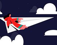 Girl on Paper Plane