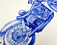 Vintage Harley-Davidson FLH Watercolor Painting
