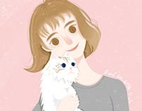 lovely girl and lovely cat