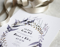 Bohemian Gold & Mauve Wreath - Wedding Stationery