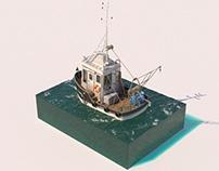 3D CARTOON FISHING BOAT