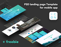ICON - PSD landing page Template for mobile app