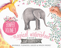 Magical watercolour animals & flowers: vol 3