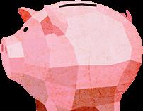 Low poly coins & piggybank
