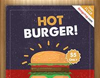 Free Retro Burger Flyer PSD Template