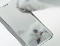 Galaxy Clear View Cover - Cat