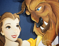 Beauty and the Beast paper sculpture