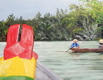 boat in Vietnam oil on masonite