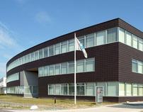 Kantoorgebouw met Bedrijfshallen