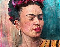 Frida kahlo portrait original painting one edition