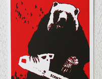 Screen print: Bear with a Chainsaw