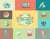 Restaurant Chef flat logo or icon Set