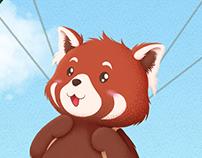 Panda rosso paracadutista - GIF
