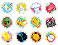 Icons for facebook game. Vector.