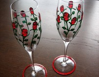 Hand-Painted Toasting Flutes