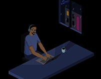 Pixel art - Alcides working at night (2020)