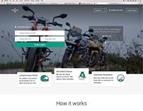 Website UI/UX design for Motor bike rental Startup
