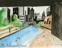 Indianapolis canal (ink and wash)