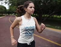 Woman Running Wearing Custom Sportswear Mockup