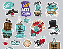 Set of funny everyday stickers for social network