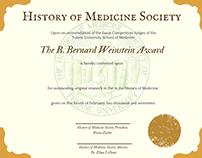 History of Medicine Society Awards Certificates