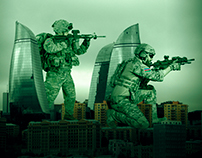 Azerbaijan Special Forces on the top of Flame Towers