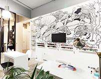 Crop salon interior artwork