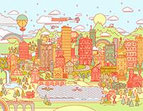 AI on the iPad City Illustration