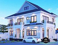 Thiết kế thi công biệt thự mái thái 2 tầng đẹp 9x14m