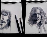 Portrait Sketches. Depp & Rickman / Sparrow & Snape.