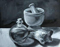 B&W Still Life- Oil Paint