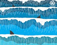 Shark dog surf illustration graphicdesign